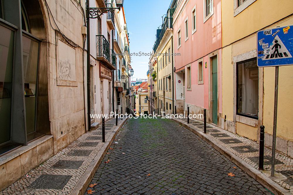 Narrow cobbled Street scene, Bairro Alto, Lisbon, Portugal