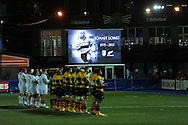 Players from both teams and fans observe a minutes applause before k/o for Jonah Lomu who sadly passed away in New Zealand yesterday.European Rugby challenge cup match, Cardiff Blues v Harlequins at the BT Sport Cardiff Arms Park in Cardiff, South Wales onThursday 19th November 2015. pic by Andrew Orchard, Andrew Orchard sports photography.