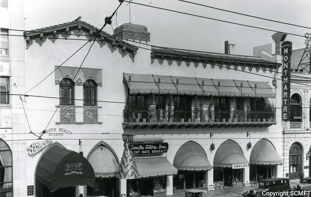 1932 The Embassy Club, Cafe Montmartre and stores on Hollywood Blvd. just east of Highland Ave.