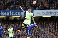Aleksandar Kolarov of Manchester City challenges Diego Costa of Chelsea. The Emirates FA Cup, 5th round match, Chelsea v Manchester city at Stamford Bridge in London on Sunday 21st Feb 2016.<br /> pic by John Patrick Fletcher, Andrew Orchard sports photography.