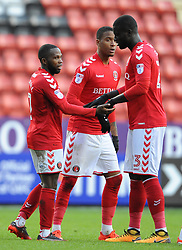 Charlton Athletic's Mark Marshall celebrates their second goal with team mates