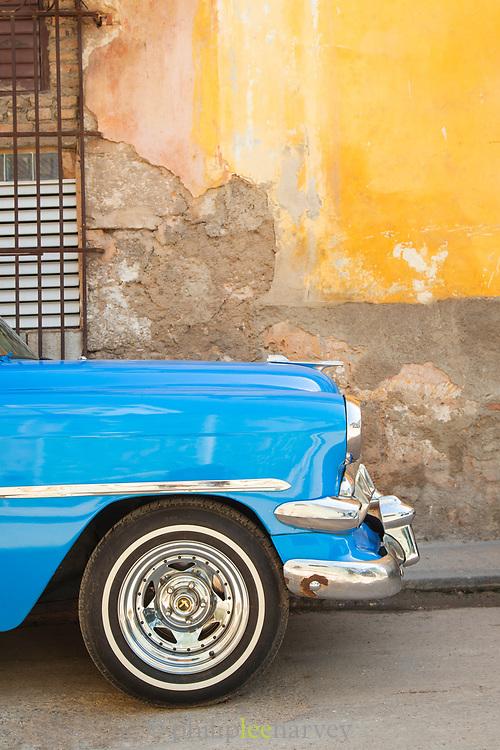 Close up of car on city street, Havana, Cuba
