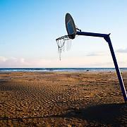 Basket ball in Vilanova i la Geltrú beach.Catalonia.Spain.