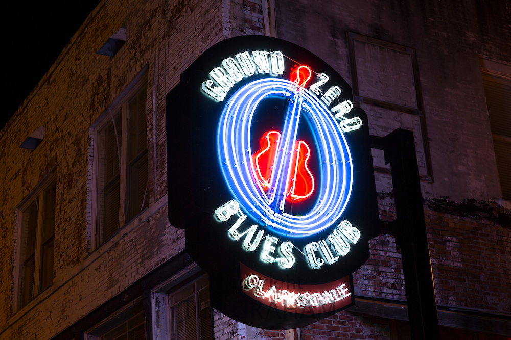 Neon sign at Morgan Freeman's Ground Zero Blues Club in Delta Street in Clarksdale - birthplace of the Blues, Mississippi USA