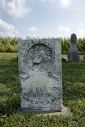 23 September 2017:  John Downing West Union Cemetery is located on the north side of Illinois Rt 9 between Danvers and Mackinaw.  It is located within McLean County