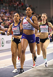 Great Britain's Shelayna Oskan-Clarke leads the race during the Women's 800m Final during day three of the European Indoor Athletics Championships at the Emirates Arena, Glasgow.