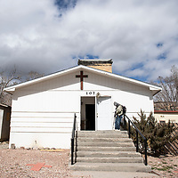 Brian Haudley stands outside the Howard Chapel A.M.E. Church on Wilson before service starts, Sunday, March 3 in Gallup. Every Sunday Rev. Shiame Okunor travels from Albuquerque to Gallup to hold a service and serve a meal to local homeless men and women which he calls Church of the Homeless.