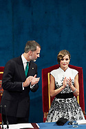 King Felipe of Spain, Queen Letizia of Spain attended the 'Princesa de Asturias Awards 2017 (Princess of Asturias awards)' ceremony at the Campoamor Theater on October 20, 2017 in Oviedo, Spain.