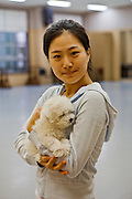 Portrait of a student for Modern Dance with her puppy at Keimyung University  in Daegu.