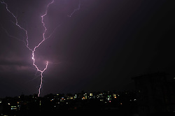 May 4, 2017 - Kathmandu, Nepal - Lightning flashes illuminates the sky over during a thunderstorm over Panga, Kirtipur, Kathmandu, Nepal on Thursday, May 04, 2017. (Credit Image: © Narayan Maharjan/Pacific Press via ZUMA Wire)