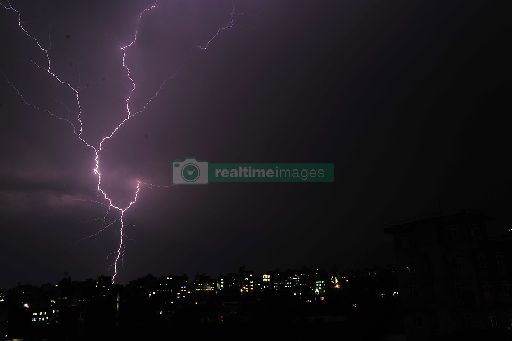 May 4, 2017 - Kathmandu, Nepal - Lightning flashes illuminates the sky over during a thunderstorm over Panga, Kirtipur, Kathmandu, Nepal on Thursday, May 04, 2017. (Credit Image: © Narayan Maharjan/Pacific Press via ZUMA Wire)