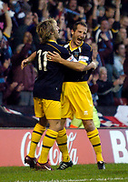 Photo: Jed Wee.<br />Nottingham Forest v Weymouth. The FA Cup.<br />05/11/2005.<br />Weymouth's Andrew Harris (R) celebrates his equaliser with Lee Elam.