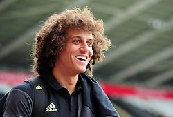 David Luiz of Chelsea all smiles as he makes his way into the liberty stadium. - Mandatory byline: Alex James/JMP - 07966386802 - 11/09/2016 - FOOTBALL - Barclays premier league -swansea,Wales - Swansea v Chelsea  -