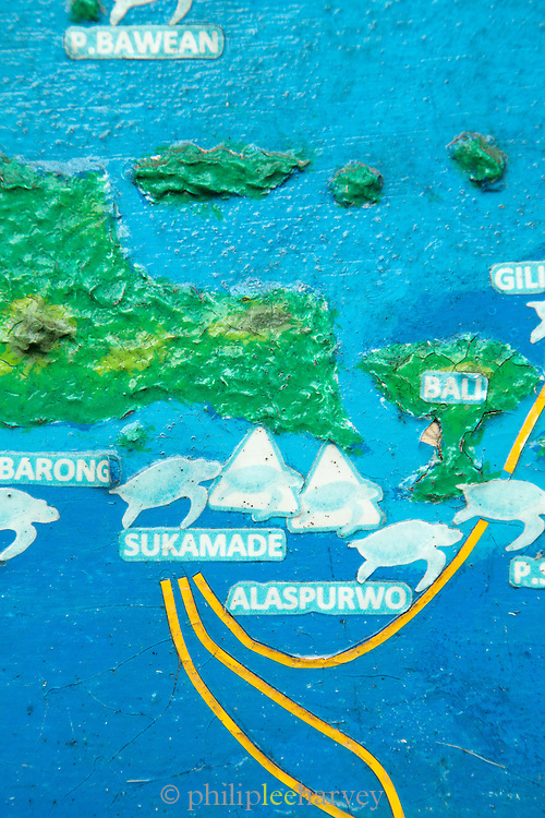 Map depicting Green Sea Turtles migration and mating routes, Sukamade Beach, Meru Betiri National Park, East Java, Indonesia, Southeast Asia