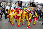 Chlorinated chicken dancers in Trafalgar Square during protests against the state visit of US President Donald Trump on 4th June 2019 in London, United Kingdom. Organisers Together Against Trump which is a collaboration between the Stop Trump Coalition and Stand Up To Trump, have organised a carnival of resistance, a national demonstration to protest against President Trump's policies and politics during his official UK visit.