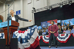 President Barack Obama praises Georgia gubernatorial candidate Stacey Abrams during a rally in Forbes Arena at Morehouse College in Macon, GA, USA, on Friday, Nov. 2, 2018. Photo by Alyssa Pointer/Atlanta Journal-Constitution/TNS/ABACAPRESS.COM