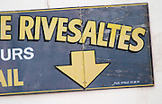 Sign with arrow. Rivesaltes town, Roussillon, France