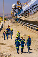 Miners, Cullinan Diamond Mine, Cullinan, 30 km (19 mi) east of Pretoria The town is named after diamond magnate Sir Thomas Cullinan. Rocks are being moved to production area on conveyer belt.