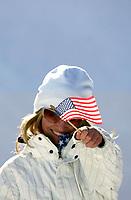 Ski<br /> Snøbrett / Snowboard<br /> Foto: imago/Digitalsport<br /> NORWAY ONLY<br /> <br /> 13.02.2006  <br /> <br /> Gretchen Bleiler (USA) schwenkt freudig die Stars and Stripes