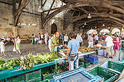 Sunday local market under Santa María de Uribarri biggest Church hall covered in Europe. Durango, Biscay, Basque Country, Spain