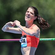 Ruth Beitia, Spain, winning the Women's High Jump competiton with a jump of 1.97m during the Diamond League Adidas Grand Prix at Icahn Stadium, Randall's Island, Manhattan, New York, USA. 13th June 2015. Photo Tim Clayton