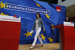 May 26, 2019 - Berlin, Berlin-Kreuzberg, Germany - Berlin: European, state and municipal election evening of the SPD in the Willy-Brandt-Haus. For the first time, the SPD is in a national election third force behind the Greens.The photo shows (Credit Image: © Simone Kuhlmey/Pacific Press via ZUMA Wire)