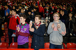 Bristol City Fans welcome the side - Photo mandatory by-line: Rogan Thomson/JMP - 07966 386802 - 29/01/2015 - SPORT - FOOTBALL - Bristol, England - Ashton Gate Stadium - Bristol City v Gillingham - Johnstone's Paint Trophy Southern Area Final Second Leg.