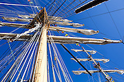 Masts and rigging of the Russian tall ship Pallada, on a friendship tour of the North Pacific, at port in Victoria, British Columbia, Canada. The 354 foot, three-masted frigate is considered the world's fastest sailing ship (18.7 knots).