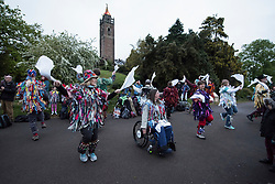 © Licensed to London News Pictures. 01/05/2017. Bristol, UK. Morris dancers perform at Mayday on Bristol's Brandon Hill at dawn and sunrise in the folk custom to welcome in the summer season. Picture of Bristol Rag Morris. Photo credit : Simon Chapman/LNP