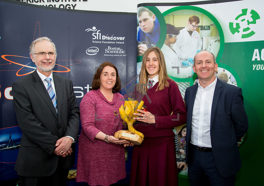 27.04.2016.          <br />  Kalin Foy and Ciara Coyle win SciFest@LIT<br /> Kalin Foy and Ciara Coyle from Colaiste Chiarain Croom to represent Limerick at Ireland's largest science competition.<br /> <br /> Laurel Hill Coláiste FCJ students, Cáit Ní Dhomhnaill and Kelly Niclot's project, An Affordable Water Conservation System won the Limerick Council Environment Award.  Kelly Niclot is  pictured with George Porter, SciFest, Sinead McDonnell, Limerick City and County Council and Brian Aherne, Intel<br /> <br /> Of the over 110 projects exhibited at SciFest@LIT 2016, the top prize on the day went to Kalin Foy and Ciara Coyle from Colaiste Chiarain Croom for their project, 'To design and manufacture wireless trailer lights'. The runner-up prize went to a team from John the Baptist Community School, Hospital with their project on 'Educating the Youth of Ireland about Farm Safety'. Picture: Fusionshooters