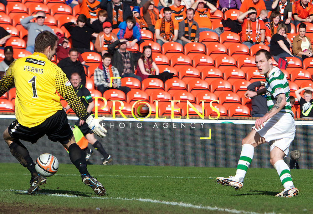 SFA, SPL WILLIAM HILL  SCOTTISH  FA CUP  6th round, Season 2011-12  DUNDEE UNITED   FC v CELTIC  FC..11-03-12..  .Celtic's Anthony Stokes scores to make it 3-0 During the William Hill Scottish Cup 6th Round match between (SPL) Clydesdale Bank Premier League teams Dundee United FC and Celtic FC. As Celtic look to maintain thier chances of a domestic clean sweep and treble.. At Tannadice Stadium, Dundee.Picture, Mark Davison/ Prolens Photo Agency/PLPA.<br /> Sunday 11th March 2012