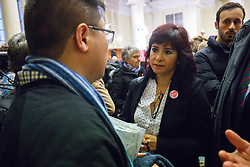 © Licensed to London News Pictures. 10/12/2016. London, UK. Labour leader and the leader of opposition Jeremy Corbyn's wife LAURA ALVAREZ argues with 'Syria Solidarity UK' protesters after Jeremy Corbyn interrupted by protesters at the Methodist Central Hall in Westminster, London on Saturday, 10 December 2016. Photo credit: Tolga Akmen/LNP