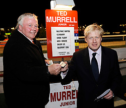 Boris Johnson - Conservative Mayor of London candidate in 2008 election campaign visits the Walthamstow Dog Track, London, Great Britain<br /> Boris Johnson and the owner of the stadium Mr Chandler 27th March 2008<br /> <br /> Photograph by Elliott Franks