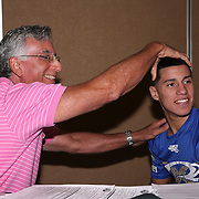 Jean Carlos Rivera gets checked for his medical clearance prior to weigh ins for the Top Rank boxing event at Osceola Heritage Park in Kissimmee, Florida on September 21, 2016.