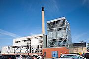 Chimney of incinerator building at Ipswich Hospital, NHS Trust, Ipswich, Suffolk, England
