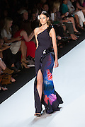 Navy one-shoulder gown with a bright tropical fishtail print. By Monique Lhuillier at Spring 2013 Fall Fashion Week in New York.