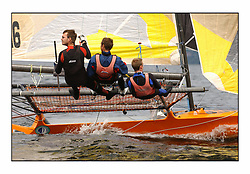 The 2004 Skiff Nationals at Largs held by the SSI.<br /> <br /> Onica helmed by Alistair Kinsmen.<br /> <br /> Marc Turner / PFM Pictures