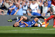 Goalkeeper Petr Cech of Arsenal catches his boot into the face of Pedro of Chelsea  as they  collide. Barclays Premier League match, Chelsea v Arsenal at Stamford Bridge in London on Saturday 19th September 2015.<br /> pic by John Patrick Fletcher, Andrew Orchard sports photography.