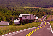 Northcentral Pennsylvania, Farm house and mountains, historic US Route #6