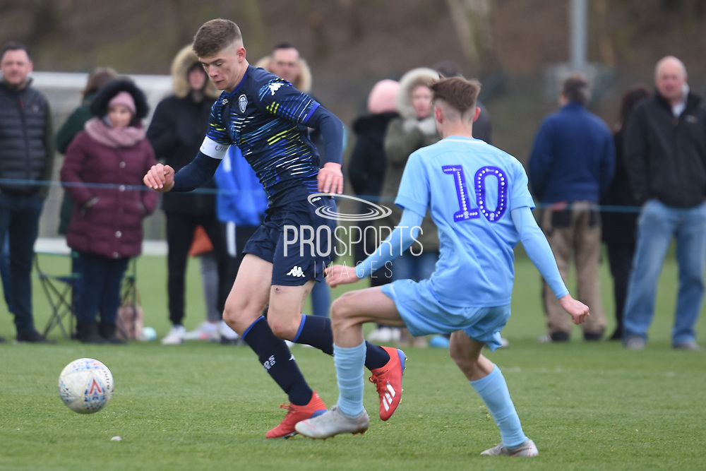 Leeds United defender Charlie Cresswell on the attack during the U18 Professional Development League match between Coventry City and Leeds United at Alan Higgins Centre, Coventry, United Kingdom on 13 April 2019.