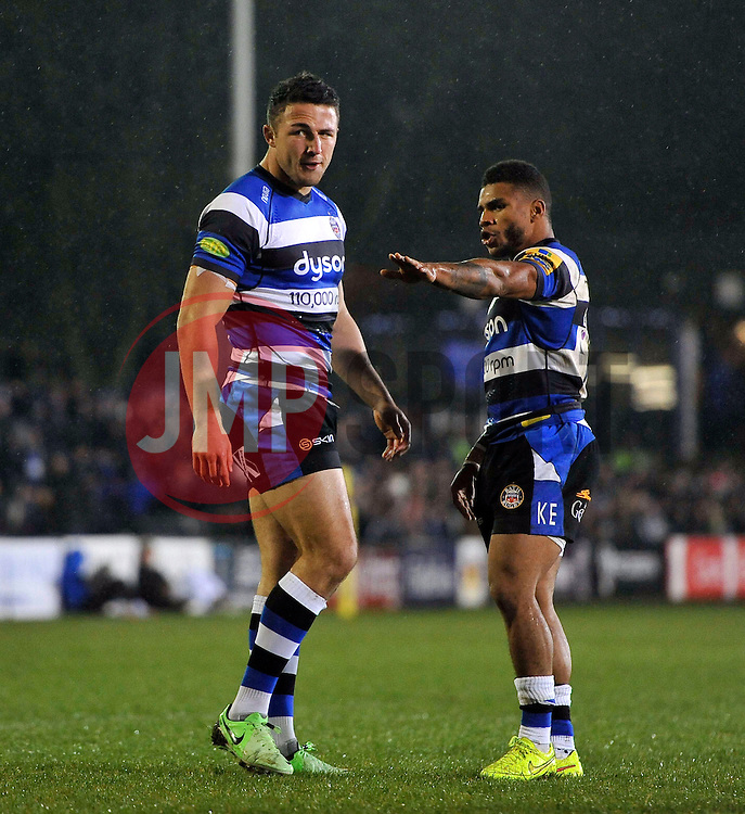 Sam Burgess of Bath Rugby is given instructions from team-mate Kyle Eastmond - Photo mandatory by-line: Patrick Khachfe/JMP - Mobile: 07966 386802 28/11/2014 - SPORT - RUGBY UNION - Bath - The Recreation Ground - Bath Rugby v Harlequins - Aviva Premiership