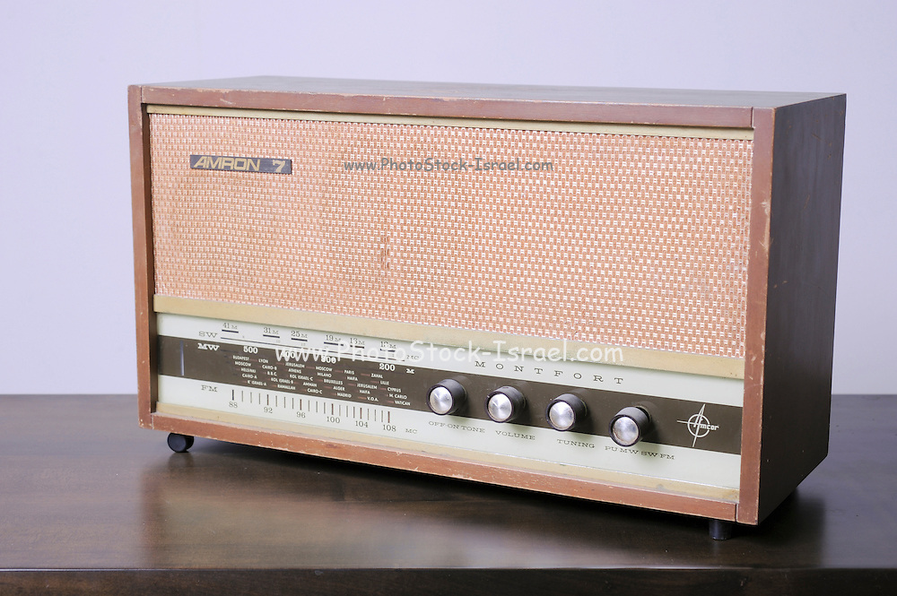 Cutout of a retro Amron 7 radio receiver (Manufactured in Israel by Amcor) on white background