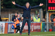 Gareth Ainsworth, the Wycombe Wanderers manager shouting from the touchline. Skybet football league two match, Wycombe Wanderers  v Stevenage Town at Adams Park  in High Wycombe, Buckinghamshire on Saturday 12th March 2016.<br /> pic by John Patrick Fletcher, Andrew Orchard sports photography.
