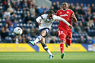 Daniel Johnson of Preston North End tries a shot at goal. Skybet football league championship match, Preston North End v Cardiff City at the Deepdale stadium in Preston, Lancashire on Saturday 17th October 2105.<br /> pic by Chris Stading, Andrew Orchard sports photography.