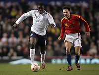 Photo: Paul Thomas.<br /> England v Spain. International Friendly. 07/02/2007.<br /> <br /> Micah Richards (L) of England gets past Andres Iniesta.