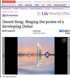 independent.ie website; Skyline of Dubai