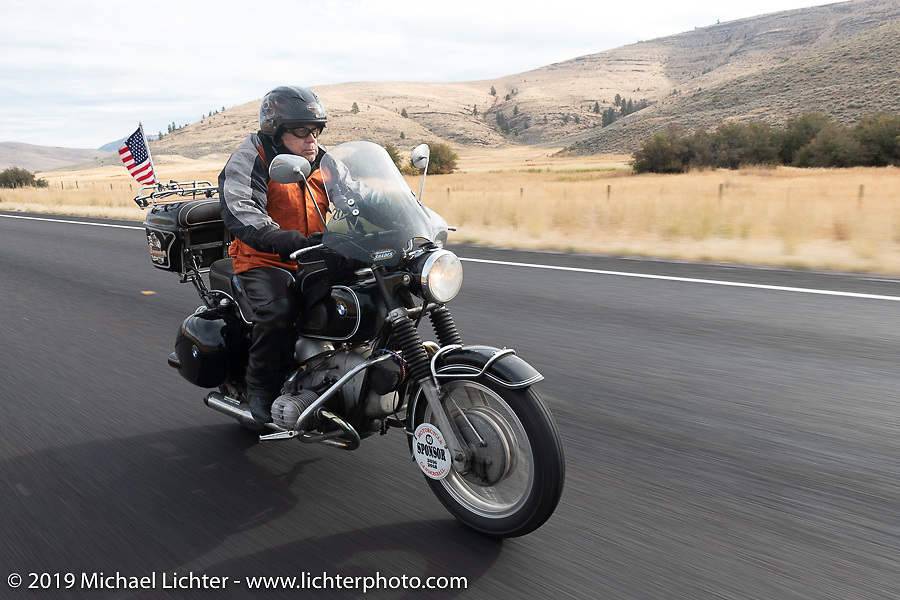 MCR sponsor & Haggarty agent Greg Allen rides his '60's BMW during the Motorcycle Cannonball coast to coast vintage run. Stage 13 (254 miles) Kalispell, MT to Spokane, WA. Friday September 21, 2018. Photography ©2018 Michael Lichter.
