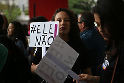 October 6, 2018 - Protesters and members of collective and social movements participate in the second protest against presidential candidate Jair Bolsonaro (PSL), on the eve of the first round of elections, on Avenida Paulista on October 06, 2018. (Credit Image: © Dario Oliveira/ZUMA Wire)