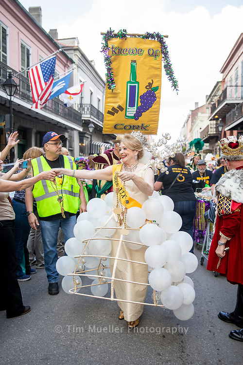 The Krewe of Cork Queen Gayle Dellinger parades through the French Quarter during Mardi Gras. Founded in 2000, the Krewe of Cork has grown into a world famous Mardi Gras parade and celebration of wine, food and fun.