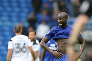 Sol Bamba of Cardiff city looks on. EFL Skybet championship match, Cardiff city v Derby County at the Cardiff city stadium in Cardiff, South Wales on Saturday 30th September 2017.<br /> pic by Andrew Orchard, Andrew Orchard sports photography.